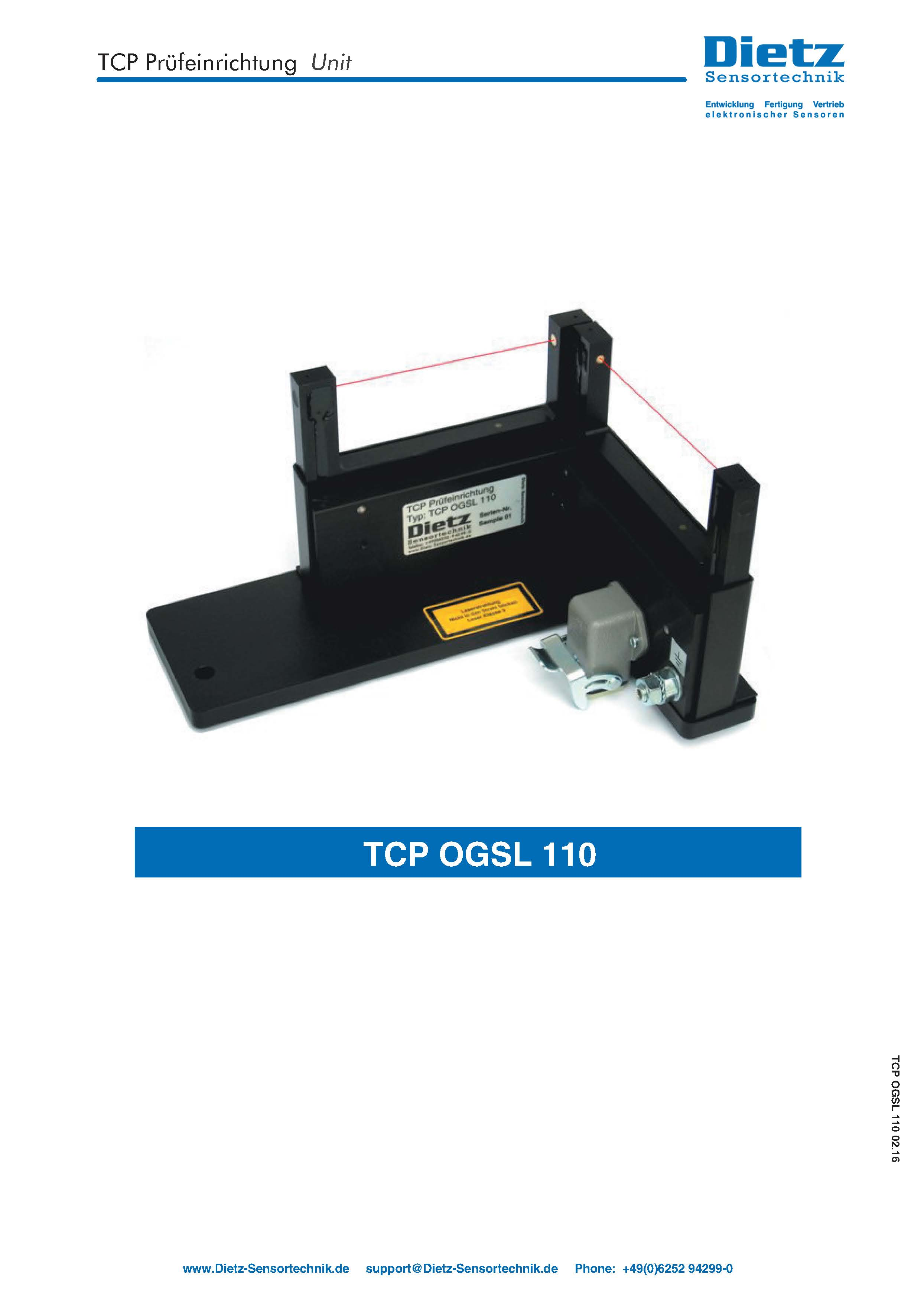 TCP Laser center unit  type OGSL 110 short overview
